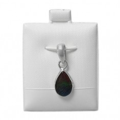 Teardrop Ammolite Pendant, Sterling Silver