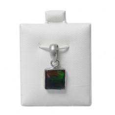Square Ammolite Pendant, Sterling Silver