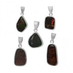 Free Form Ammolite Pendant, Sterling Silver