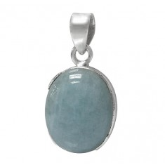 Oval Aquamarine Pendant, Sterling Silver