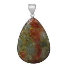 Triangular Aquamarine & Sunstone Pendant, Sterling Silver