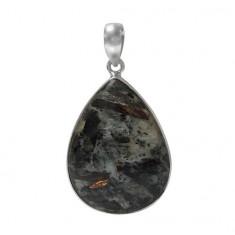 Teardrop Astrophyllite Pendant, Sterling Silver