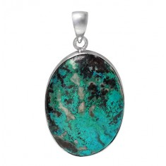 Oval Azurite Pendant, Sterling Silver