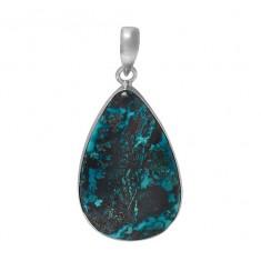 Teardrop Azurite Pendant, Sterling Silver