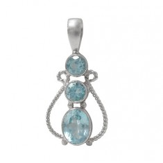 Round & Oval Blue Topaz Pendant, Sterling Silver