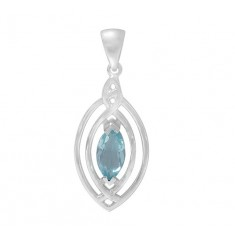 Marquise Blue Topaz Pendant, Sterling Silver