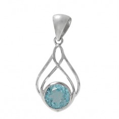Round Blue Topaz Pendant, Sterling Silver