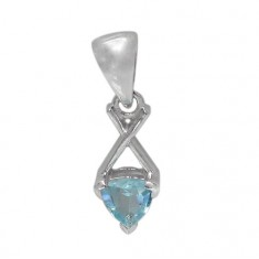 Triangular Blue Topaz Pendant, Sterling Silver