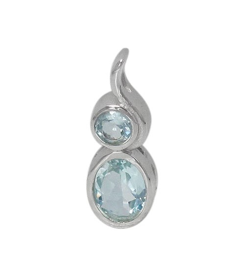 Unique Blue Topaz Pendant, Sterling Silver