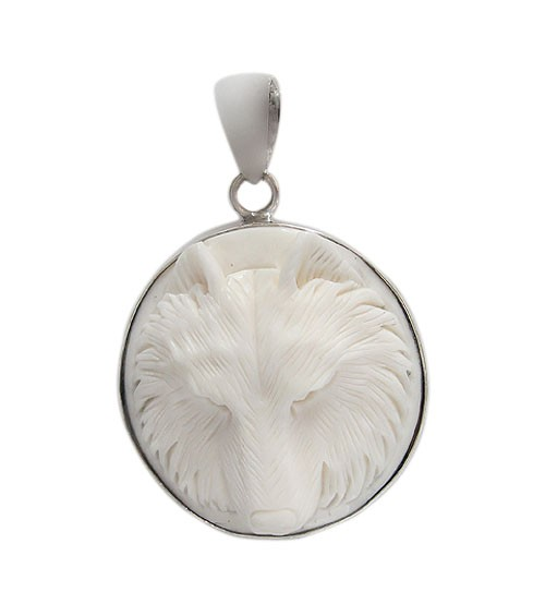 Round Wolf Bone Pendant, Sterling Silver