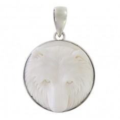 Round Bear Bone Pendant, Sterling Silver
