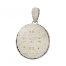 Round Ancient Symbol Bone Pendant, Sterling Silver