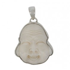 Buddha Head Bone Pendant, Sterling Silver