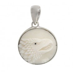 Round Eagle Bone Pendant, Sterling Silver
