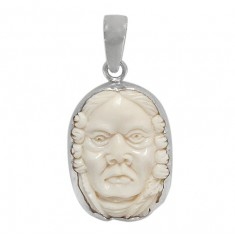 Male Portrait Bone Pendant, Sterling Silver