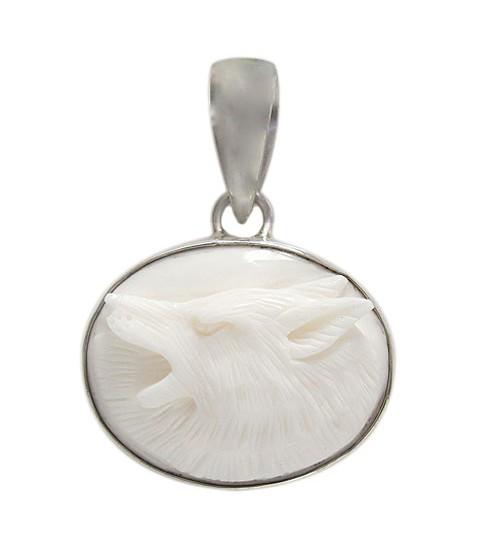 Oval Wolf Bone Pendant, Sterling Silver
