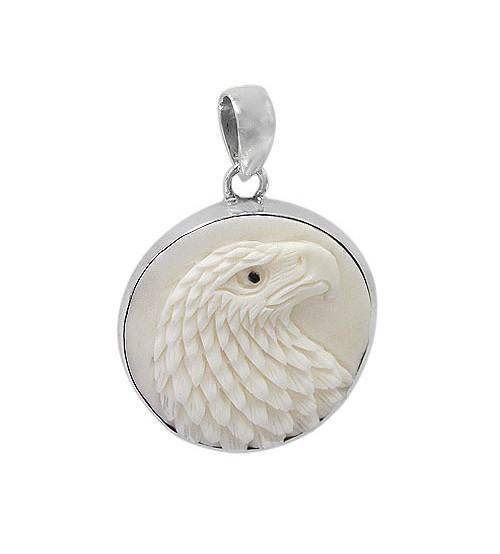 Round Eagle Bone Pendant, Sterling Silver