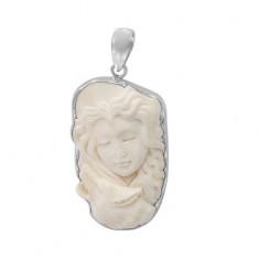 Wolf & Woman Bone Pendant, Sterling Silver
