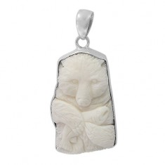 Free Form Bear Bone Pendant, Sterling Silver