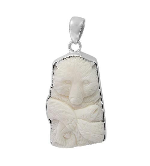Free Form Bear Bone Pendant, Sterling Silver