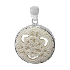 Round Celtic Bone Pendant, Sterling Silver