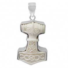 Thor's Hammer Bone Pendant, Sterling Silver