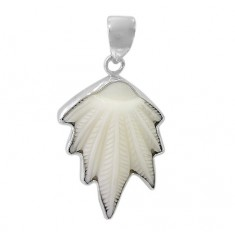 Marijuana Leaf Bone Pendant, Sterling Silver
