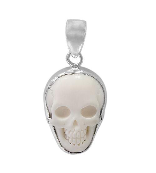 Skull Bone Pendant, Sterling Silver