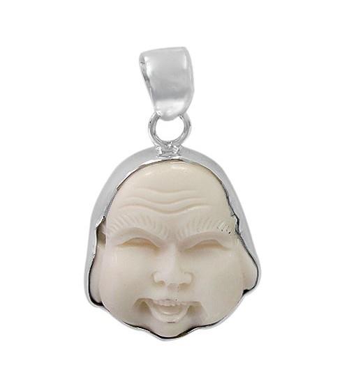Buddha Head Bone Pendant, Sterling Silver