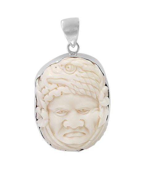 Man & Eagle Bone Pendant, Sterling Silver