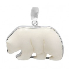 Polar Bear Bone Pendant, Sterling Silver