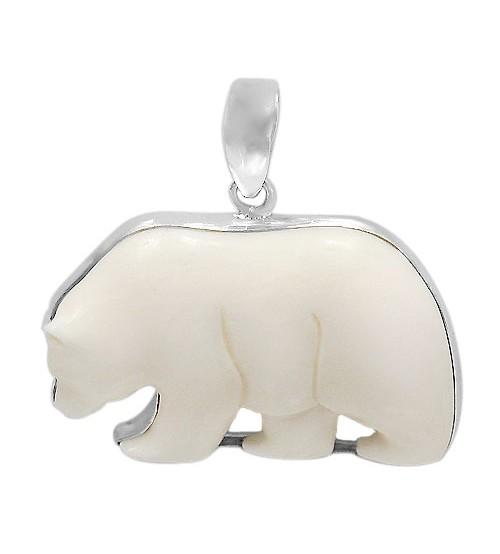 Polar Bear Bone Pendant, Sterling Silver