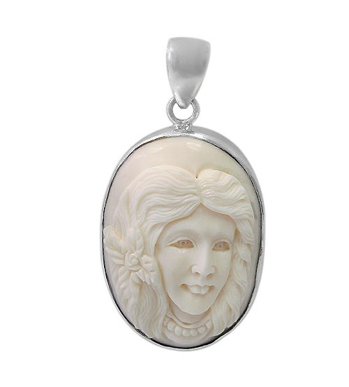 Female Portrait Bone Pendant, Sterling Silver