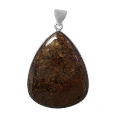 Triangular Bronzite Pendant, Sterling Silver