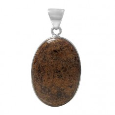 Oval Bronzite Pendant, Sterling Silver