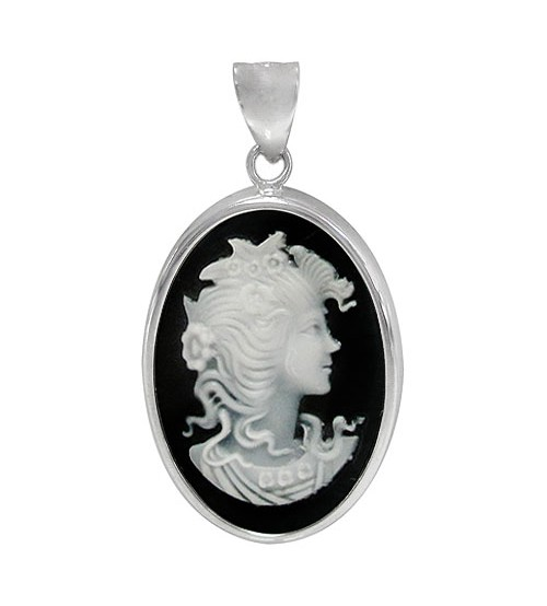 Cameo Black Agate Pendant, Sterling Silver