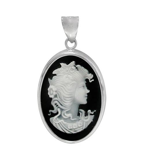 Cameo Black Agate Pendant, Sterling Silver