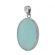 Oval Chalcedony Pendant, Sterling Silver