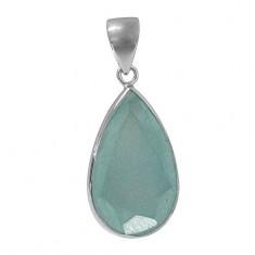 Teardrop Chalcedony Pendant, Sterling Silver