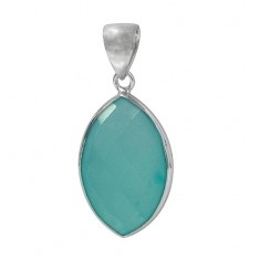 Marquise Chalcedony Pendant, Sterling Silver