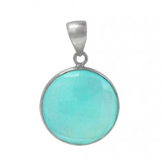 Round Chalcedony Pendant, Sterling Silver