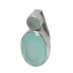 Two Stone Chalcedony Pendant, Sterling Silver