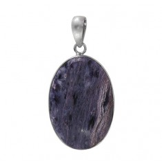 Oval Charoite Pendant, Sterling Silver