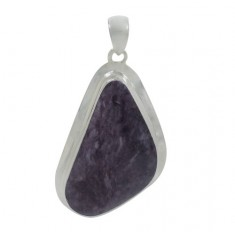 Free Form Charoite Pendant, Sterling Silver