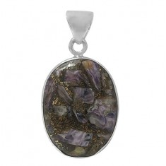 Oval Copper & Charoite Pendant, Sterling Silver