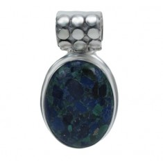 Oval Chrysocolla Pendant, Sterling Silver