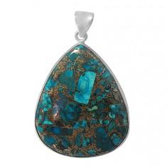 Teardrop Copper & Chrysocolla Pendant, Sterling Silver