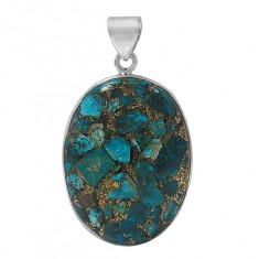 Oval Copper & Chrysocolla Pendant, Sterling Silver