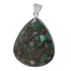 Teardrop Copper & Chrysoprase Pendant, Sterling Silver