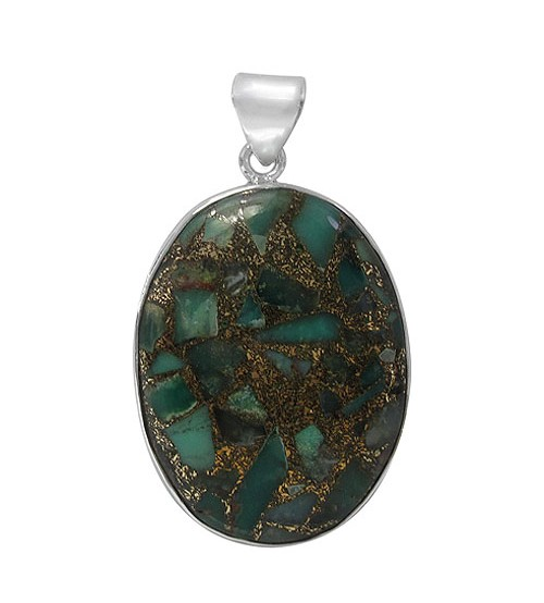 Oval Copper & Chrysoprase Pendant, Sterling Silver